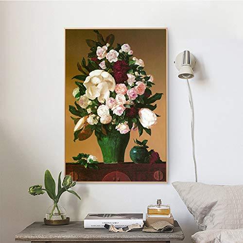 SADHAF Impressionist Style Vase Blumen Leinwanddruck Bunte Blumen Leinwand Gemälde Familiendekoration Poster A6 70x100cm
