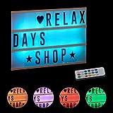 Relaxdays, weiß Lightbox mit Farbwechsel, Leuchtkasten, 85 Buchstaben & Symbole, 3 Zeilen, Lichtbox...
