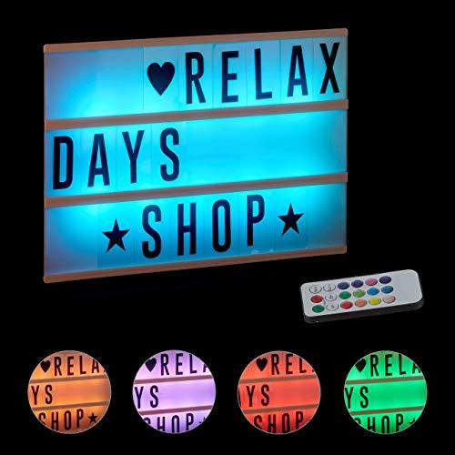 Relaxdays, weiß Lightbox mit Farbwechsel, Leuchtkasten, 85 Buchstaben & Symbole, 3 Zeilen, Lichtbox batteriebetrieben