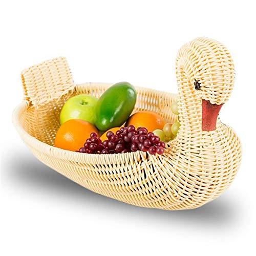weichuang Cestas de exhibición ecológicas, cesta de almacenamiento tejida de ratán de imitación cesta de almacenamiento con forma de animal (28 x 18 x 18 cm) (color crema)