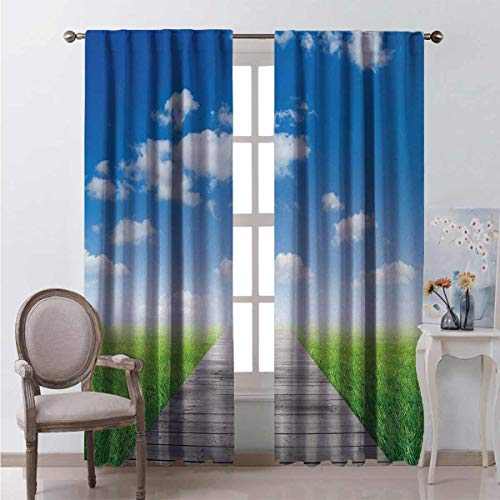 Toopeek Country Bedroom rod pocket blackout curtains Pathway towards Meadow Rural Countryside Miracle Supernatural Sky with Clouds Living room color curtains 2 panels W42 x L84 Inch Blue Green Brown