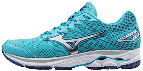 Mizuno Women's Wave Rider 20 Running Shoe, Blue Atoll/Silver, 7 B US