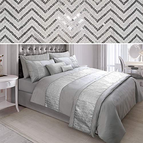 N/A Sequin Diamante Quilt Duvet Cover Set Bedding Linen Silver Grey (02-06) (Double)