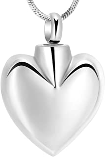 Minicremation Cremation Jewelry for Ashes - Heart Urn for Ashes Necklace Memorial Ashes Jewelry Stainless Steel Keepsake Ashes Pendant for Women/Men