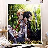 dgdgd Sword Art Online Anime Blanket Quilt Asuna Yuuki Kirito Sitting Sleeping 3D Printed Soft Flannel Cashmere Plush Fleece Sherpa Throw Blanket Gift for Anime Fans Kids and Adults
