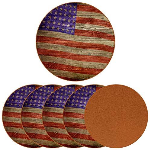 Paquete de 6 posavasos para bebidas, diseño de la bandera americana de madera grunge