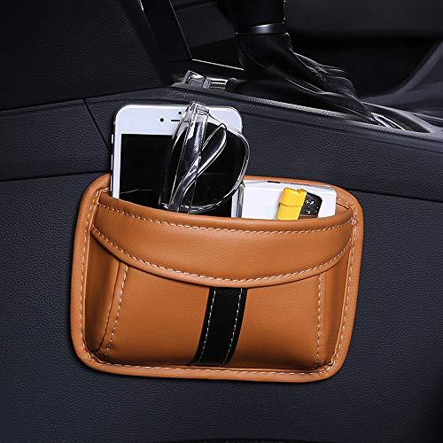 ontto Bolsa de almacenamiento para asiento de coche universal, autoadhesiva, de piel sintética, para guardar el respaldo del asiento del coche, caja para teléfono móvil, gafas de sol marrón