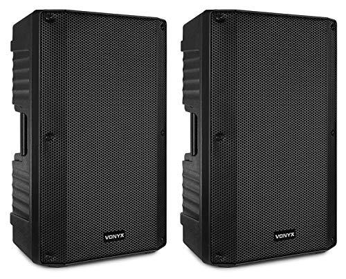 Vonyx VSA150S Juego de Altavoces Activos estéreo de 1000 W con Bluetooth, Reproductor de MP3 y Control Remoto - ¡Adecuado para DJ's, músicos, Cantantes y discursos!