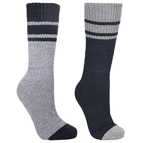 Trespass - Calcetines para botas de montaña anti-ampollas 2 tonos Modelo Hitched hombre caballero (2 pares) (41-46 EUR) (Negro/Gris jaspeado)