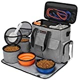 Modoker Dog Travel Bag, Weekend Pet Travel Set for Dog and Cat, Airline Approved Tote Organizer with Multi-Function Pockets (Grey)