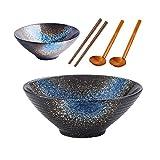 JSMY Cuencos japoneses para Ramen,Cuencos Grandes de cerámica apilables para Sopa de 50 oz,2 Juegos de 6 Piezas con cucharas a Juego,Palillos,para Fideos,Pho,Udon y Soba,Azul