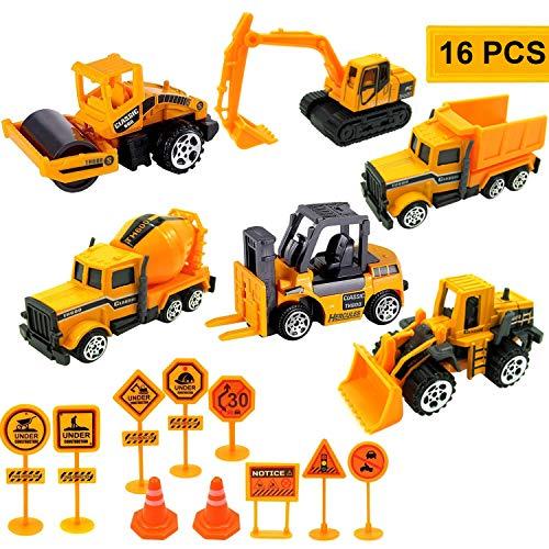 Sunshine smile baustellenfahrzeuge Kinder,Bagger deko,baufahrzeuge Set,baufahrzeuge Set Metall,baufahrzeuge Set sandkasten,Bagger Lastwagen,Autos Baustelle Spielzeug