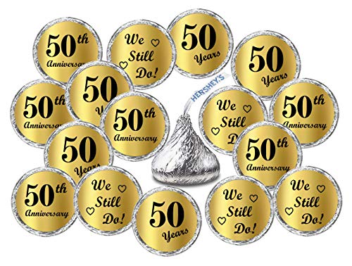 Gold Foil 50th Anniversary Kisses Stickers, (Set of 216) Chocolate Drops Labels Stickers for 50th Wedding Anniversary, Hershey's Kisses Party Favors Decor