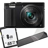 1A Photo PORST Starter Oferta Panasonic Lumix DMC-TZ71 - Tarjeta de memoria SD de 8 GB y protector de pantalla, color negro