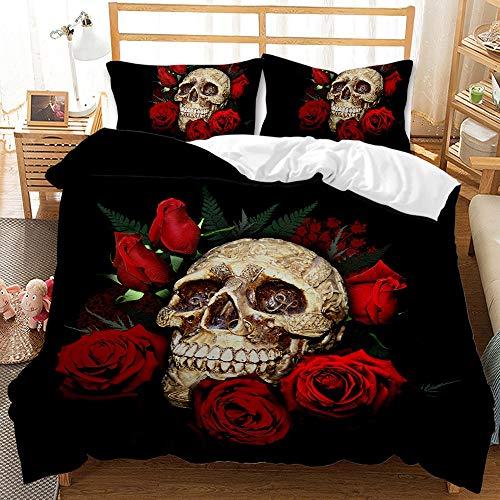 NEWAT Bettbezug-Set, 3D-Druck, Blumenmuster und Totenkopf, Totenkopf-Rose, Bettbezug-Set, Mikrofaser, Gothic-Skelett-Bettwäsche mit Kissenbezug (B,135 x 200 cm)