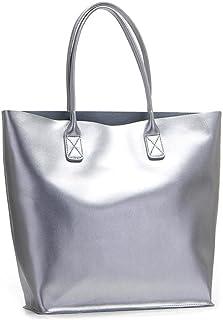 Viviesta Damen Einkaufstasche / Handtasche, echtes Leder, glänzend, Metallic, extra groß