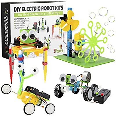 2Pepers Electric Motor Robotic Science Kits for Kids (4-in-1), DIY STEM Toys Kids Science Experiment Kits, Building Educational Robotics Kit for Boys and Girls,Circuit Engineering Science Project Kits