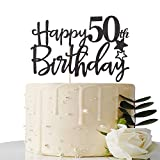 Maicaiffe Black Happy 50th Birthday Cake Topper,Hello 50 ,Cheers to 50 Years,50 & Fabulous Party...