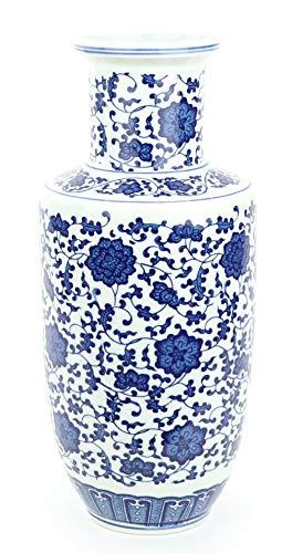 Fine Asianliving Jarrón de Porcelana Chino Loto Azul y Blanco D.17 x...