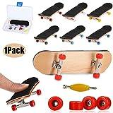 QNFY Mini Fingerboard, Planche à roulettes de Doigt Érable Wood Ensemble de Bricolage Finger Skateboards Skatepark Finger Skate Boarding Jouets Jeux de Sport Cadeau de Noel pour Enfants (Rouge)