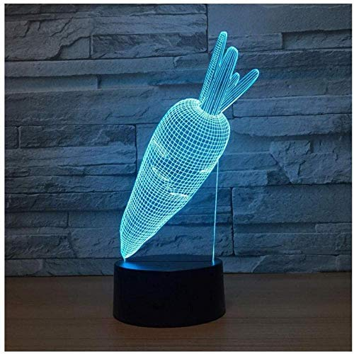 YOUPING Luz nocturna LED para niños, diseño de rábano, color rojo, creativo, USB, lámpara de noche para cama, cabeza de siete colores LED Eye Reading LED luz nocturna USB LED 3D