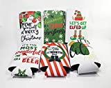 Festive Christmas Standard Can and Slim Can Beer Coolers - 6-pack - Neoprene