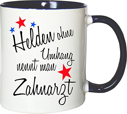 Mister Merchandise Becher Tasse Helden ohne Umhang nennt Man Zahnarzt Kaffee Kaffeetasse liebevoll Bedruckt Beruf Job Geschenk Weiß-Blau