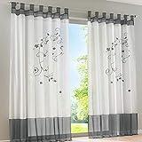 Souarts Stickerei Gardine Vorhang mit Schlaufen Transparent Schlaufenschal für Wohnzimmer Schlafzimmer Studierzimmer Blumen 1er Grau (140cmx145cm, Grau)
