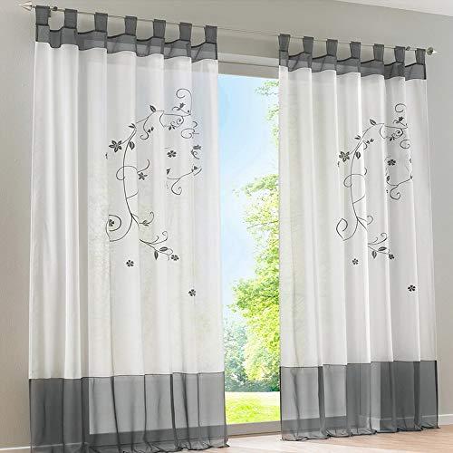 Souarts Stickerei Gardine Vorhang mit Schlaufen Transparent Schlaufenschal für Wohnzimmer Schlafzimmer Studierzimmer Blumen 1er Grau (140cmx225cm, Grau)