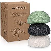 Navaris Set de 3 esponjas de limpieza faciales Konjac - Esponja exfoliante para todo tipo de piel - 100% natural vegana biodegradable y reutilizable