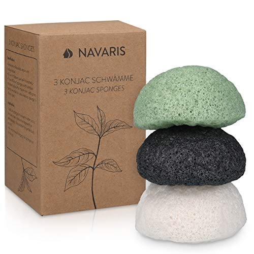 Navaris Set of Konjac Sponges - 3x Natural Exfoliating and Cleansing Sponge Shower Puffs for Face and Body including Bamboo Charcoal and Green Tea