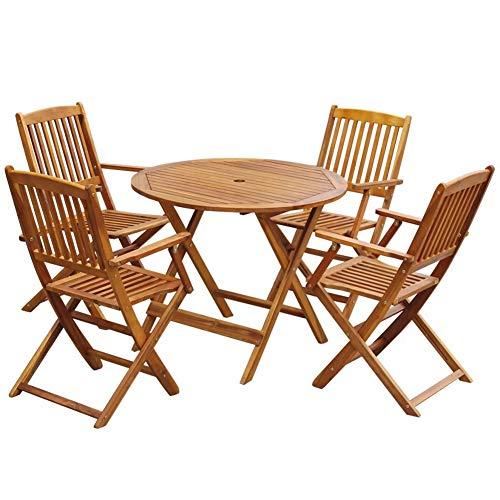 Juego de Muebles Exterior de Jardín de Madera, 5 Piezas Comedor Plegable de Madera Maciza de Acacia para Terraza