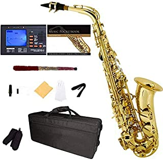 E-Flat Alto Saxophone, Gold Lacquered + Tuner, Case, Pocketbook - MAS-L+92D+PB