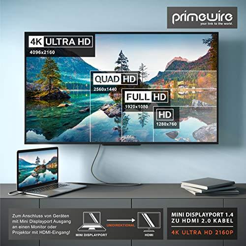 CSL - 4k Mini Displayport 1.4 zu Hdmi 2.0 Kabel – 2m - Mini DP Adapter – 4k@60Hz - Thunderbolt 1-2 - Audio und Video – geeignet für MacBook, Microsoft Surface Pro, Lenovo Notebook, Monitor, Projektor