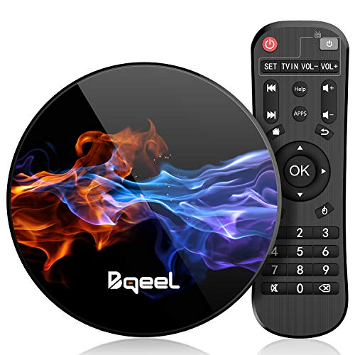 【Promoción】 Última 9.0 TV Box 【4GB RAM+128GB ROM】 Bqeel Android TV Box RK3318 Quad-Core 64bit Cortex-A53 Soporte 2k*4K, WiFi 2.4G/5G,BT 4.0 , USB 3.0 Smart TV Box