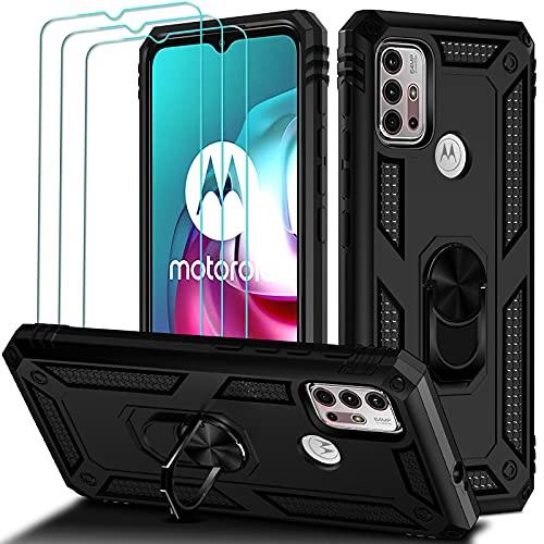 ivoler Funda para Motorola Moto G30   Moto G20   Moto G10 con [Cristal Vidrio Templado Protector de Pantalla *3], Anti-Choque Carcasa con Anillo iman Soporte, Hard Silicona TPU Caso - Negro