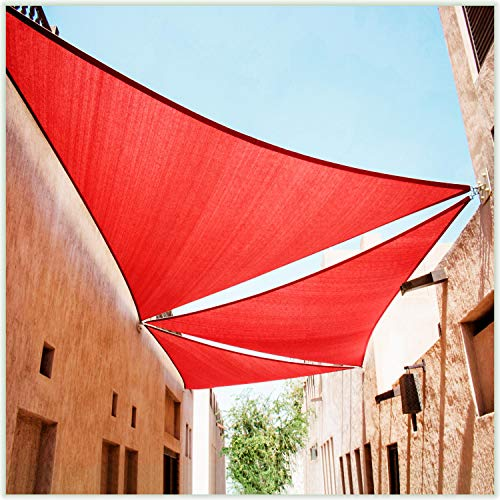 ColourTree 16' x 16' x 16' Red Sun Shade Sail Canopy Mesh Fabric UV Block Triangle TAPT16 - Commercial Standard Heavy Duty - 190 GSM - 3 Years Warranty (We Make Custom Size)