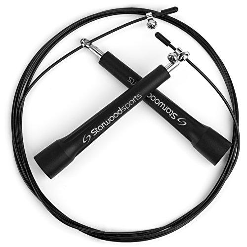 Starwood Sports Corde à Sauter- Corde de Vitesse- Facilement réglable - 3m - Légère - De qualité supérieure - Roulements à Billes en Acier
