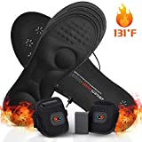 GMAYOO Electric Heated Insoles with Power Display, Battery Powered Rechargeable Heated Shoe Insoles for Men Women with Temperature Control Winter Foot Warmer for Skiing Hiking Fishing