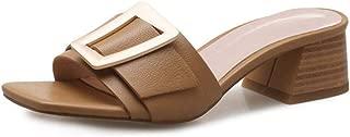 Womens Low Block Heel Slide Sandals Buckle Strap Anti-Slip Slip On Mule Chunky Heels Sandal