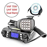Mobile Ham Radio Transceiver VHF 75W UHF 55W Mobile Radio Dual Band Quad Standby Vehicle Transceiver Cross Band Station Repeater with Programming Cable & Software Black SOCOTRAN