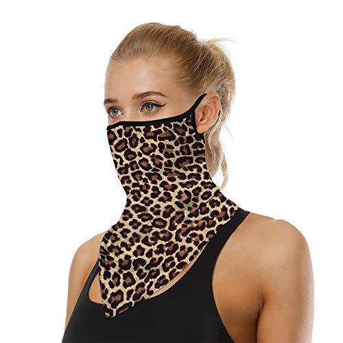 Unisex Floral Leopard Face Bandana Ear Loops Face Balaclava Shield Mask Men Women Casual Rave Neck Sport UV Gaiters Face Cover Multifunctional Headwear Headwrap for Dust Wind Leopard Print