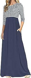 Fankle Womens Maxi Dresses Boho Striped 3/4 Sleeves O-Neck A-Line High Waist Casual Dress Tops Tunics Sundress Kaftan