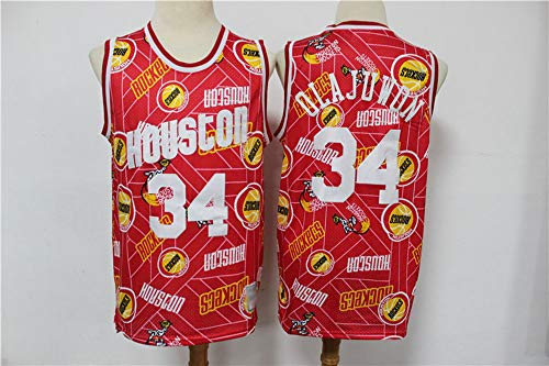 Jersey De Baloncesto para Hombre - NBA Retro Houston Rockets # 34 Hakeem Olajuwon - Secado Rápido Transpirable Suelto, Sin Mangas, V/Cuello Redondo Jersey,Rojo,L(175~180cm)