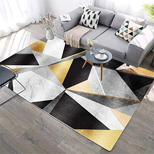 Kunsen Ornamente Geometrische Farbe des Wohnzimmerteppichs passend zum modernen Stil des grauen schwarzen Goldes Teppich gewebt Balkon deko 200X250CM 6ft 6.7' X8ft 2.4'