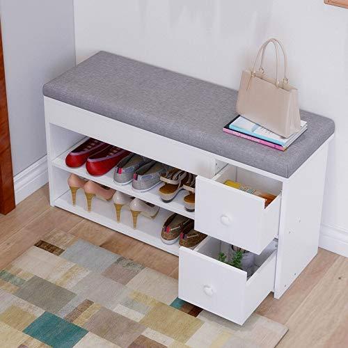 Porte-chaussures 2-Tier Banc de rangement, chaussures Cabinet, Banc de chaussures, armoire de rangement avec deux tiroirs, Vestibule Banc de rangement avec Coussin de siège Chaussure ( Color : White )