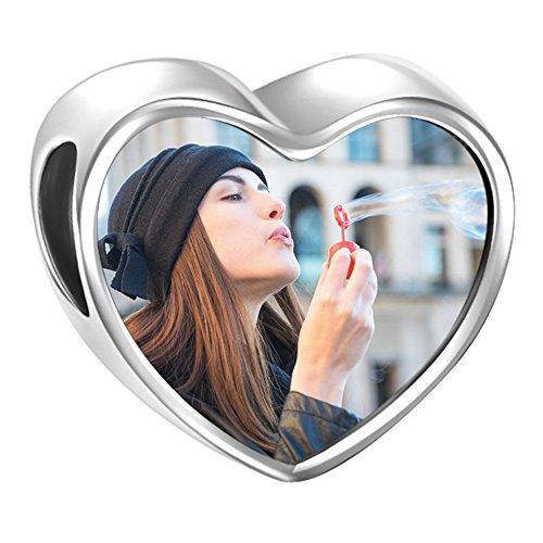 SOUFEEL Charm de Foto Personalizsdos Plata de Ley Abalorio para Pulsera o Collar en Forma de Corazón Huella de Bebe para Pulsera Europea