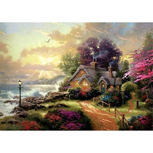 DIY Oil Painting kit Paint by Numbers kit for Kids and Adults  Cottage 16x20 inches Framed