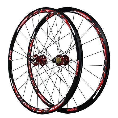 LJP 700c Juego Ruedas Bicicleta Carretera, QR 7/8/9/10/11 Velocidad Rueda Delantera y Trasera ciclocross Cojinetes sellados Freno Disco V/C Llanta Doble Pared 30 mm (Color : Red)