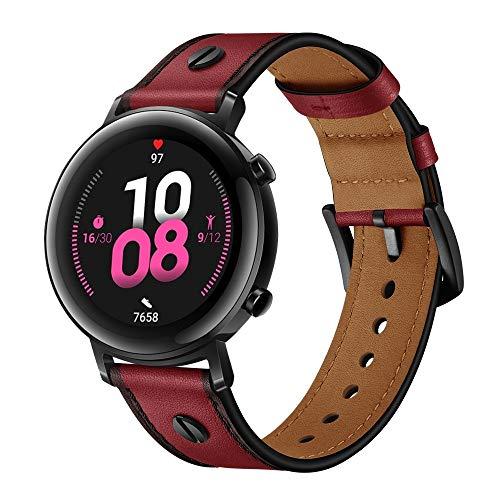 XYL-Q Correa de Reloj Watch Correa De Cuero 22 Mm para La Correa De Reloj De Huawei GT2e / GT2 46mm (Rojo Oscuro) (Color : Dark Red)